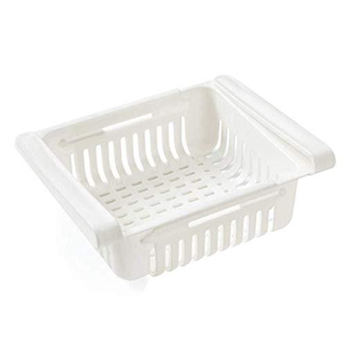 SOMESUN Kühlschrank Schubladen,Kühlschrank-Organizer,Verstellbare Kühlschrank-Schublade,Kühlschrank Aufbewahrungsbox,Organizer Ausziehbare Kühlschrank Regal Halter,Klemmschubladen für Kühlschrank