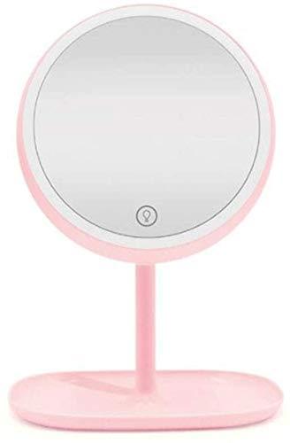 Relación calidad-precio La princesa del espejo de maquillaje LED con la pantalla táctil elegante del espejo de maquillaje ligero con el espejo del aderezo portátil (color: rosa, tamaño: 32 * 31 cm) co