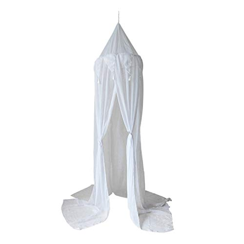 zhibeisai Cotton Linen Mosquito Net Mesh Breathable Bed Canopy Round Dome Bedding Tent, White