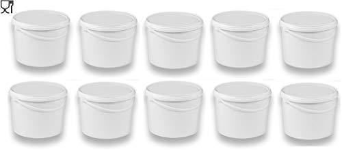 10 x 10 Liter Eimer mit Deckel weiß, stapelbarerer Milch-/Vorratseimer, Honigeimer Kunststoffeimer mit Lebensmittelfreigabe, Lebensmittelechte Behälter, Leereimer für Mehl, Wassereimer, 10 Stück