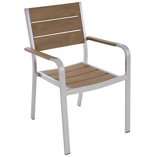Nexos Gartenstuhl mit Armlehnen Aluminium Polywood Stapelstuhl 88x55x57 cm Gartenmöbel– pflegeleicht – Rahmen grau – Sitzfläche Rückenlehne: Hellbraun