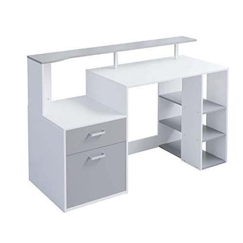 Outwin Corner Desk Folding Wood Computer Desk with Drawers/Shelves Storage, Modern Home Office Study Gaming Table PC Laptop Workstation. (Grey&White)