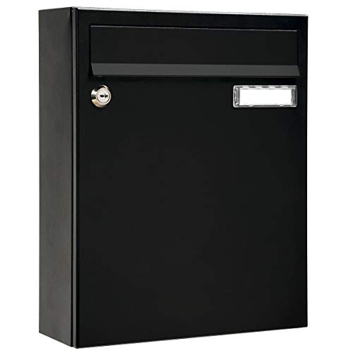 MEFA Briefkasten Sonate 133 schwarz (Postkasten + Namensschild; beschichteter Stahl; 33 x 26 x 100 cm) 133220