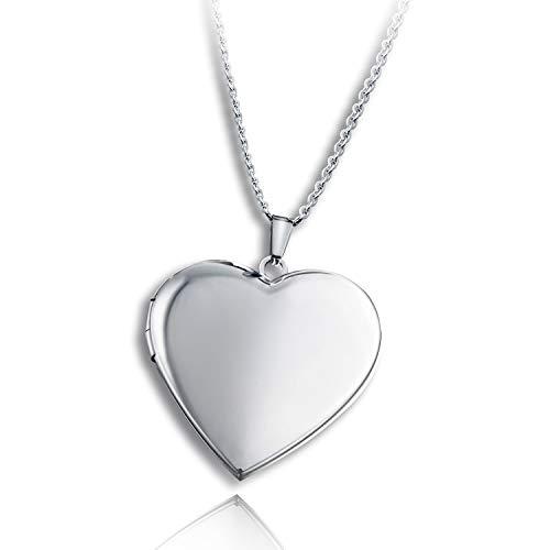 PHOCKSIN - Collana con medaglione a forma di cuore e foto per donne e ragazze, con ciondolo ricordo natalizio e Acciaio inossidabile, colore: medaglione cuore in acciaio, cod. PHLN601_ML