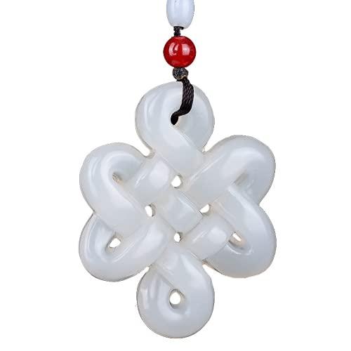 PAYNAN Collar con colgante de nudo chino tradicional de jade natural tallado moda amuleto