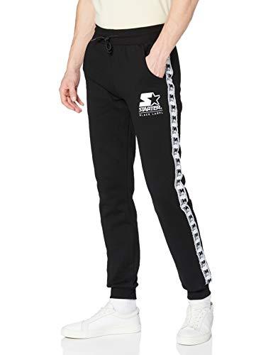 STARTER BLACK LABEL Herren Jogginghose mit Logo Taping, schwarze Jogging Pants, Trainingshose einfarbig, elastischer Bund und Saum, XL