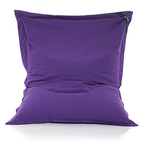 LAZY BAG Original Sitzsack XXL 400L Riesensitzsack aus Baumwolle 180x140cm (Violett-Lila)