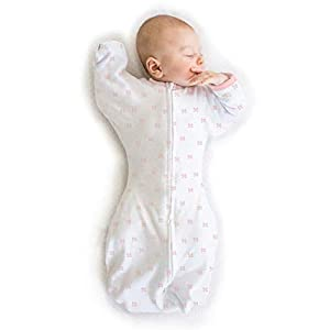 Amazing Baby Transitional Swaddle Sack with Arms Up Half-Length Sleeves and Mitten Cuffs, Tiny Bows, Pink, Medium, 3-6 Months (Parents' Picks Award Winner, Easy Transition with Better Sleep)