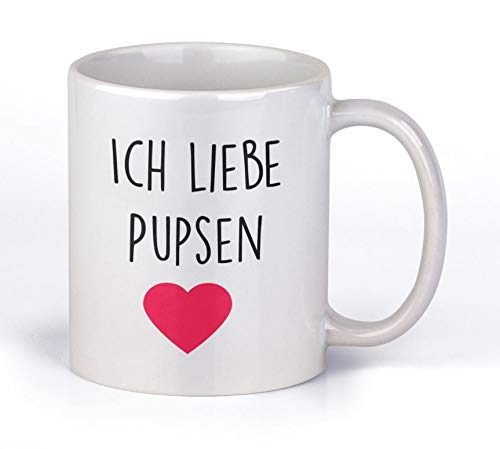 TassenTicker - Ich Liebe Pupsen - Kaffee/Tee/Becher/lustig/Arbeit/Büro/Kollegen/Chef/Geschenk/ - Hochwertige Qualität - beidseitig Bedruckt