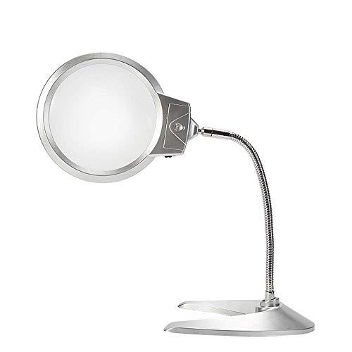 GENFALIN Vidrio de la Lupa - Tabla óptico de Alta Potencia ampliada Espejo de Alta definición 5 X 10 multifunción de Cristal con LED Adecuado for los Ancianos de Lectura/reparación del teléfono móvil