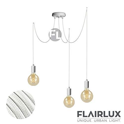 Pendelleuchte 3 flammig weiß matall E27 mit Textilkabel DIY höhenverstellbare Deckenleuchte im Vintage design Hängelampe Wohnzimmerlampe Deckenbeleuchtung Hängeleuchte (Weiß, 3x3 Meter)