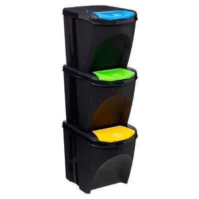 TIENDA EURASIA® Cubos de Reciclaje para el Hogar - Pack de 3 Cubos de Basura de Cocina Apilables - 3x25L - Tapa Abatible en 3 Colores