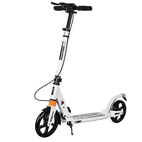 WHOJS Patinete Scooter Adulto con Freno de Mano Fácil de Plegar Scooter de Ciudad Juvenil Altura Ajustable Scooter de Trayecto No Electrico Capacidad de Carga 220 lbs Construcción ligera(Color:blanco)