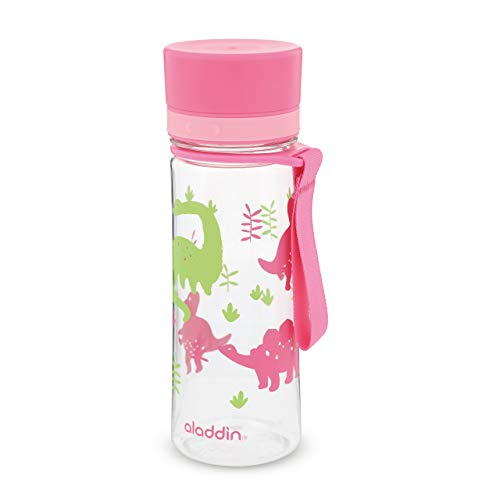 Aladdin 10-01101-093 Aveo Water Bottle 0.35L Pink Kids Graphics – Wide opening for easy fill | Leakproof | BPA-Free | Smooth Drinking Spout | Stain and Smell Resistant | Dishwasher Safe