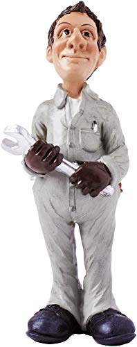 Brubaker Lustige Berufe Figur Mechaniker 17,5 cm mit Maulschlüssel Geschenk-Idee Job Arbeit witzig