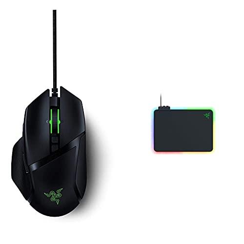 Razer Firefly V2 - Gaming-Mauspad mit mikrotexturierter Oberfläche und Chroma RGB-Beleuchtung Schwarz & Basilisk V2 - Kabelgebundene Gaming Maus mit 11 programmierbaren Tasten Schwarz