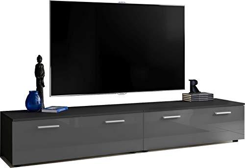 ExtremeFurniture T30-200 TV Lowboard, Karkasse in Schwarz Matt/Front in Grau Hochglanz