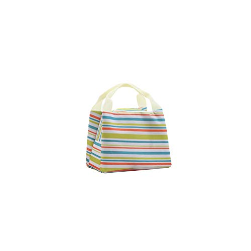 Women Portable Lunch Bag Canvas Stripe Insulated Cooler Bags Thermal Food Picnic Lunch Bags Kids Lunch Box Bag Tote,B