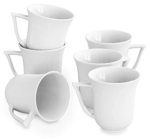 MALACASA, Serie Carina, 6 teilig Set Kaffeeservice Cremeweiß Porzellan Kaffeetasse Tassen 4,75 Zoll / 12 * 9,5 * 10cm / 290ml Becher Teetasse Kaffeebecher-Set Bechersets für 6 Personen