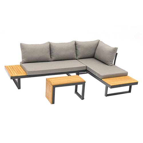 OUTLIV. Alpha Loungeecke 3tlg. aus Aluminium/Olefin/Akazie Sitzecke in Anthrazit/Grau/Teak Outdoor Gartenlounge Set