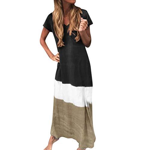 YGbuy-Gradiente De Color De Las Mujeres De Manga Corta con Cuello En V Temperamento Vestido Elegante Falda Larga Vestidos Verano NiñA CóCtel De Las Mujeres De Boho del