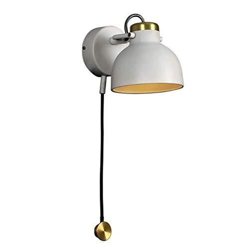Lámpara de pared de dormitorio LED 5W Regulable, ajustable de 360 ° hecha de metal, con lámpara de cama con interruptor táctil, aplique de pared ligero de noche de diseño industrial vintage, White