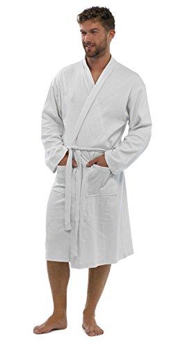 Hommes/Gentlemens Pyjama/Pyjama gaufré Manches Longues Peignoir/Robe De Chambre, Diverses Couleurs & Tailles - Blanc, Medium / Large
