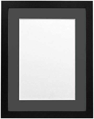 FRAMES BY POST H7-Bilderrahmen mit weißem Passepartout, Breite 25 mm, weiß, Holz, Schwarz, A2 Image Size A3