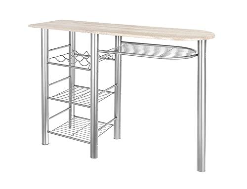 FHU Mesa de bar con estante y estante para vino, mesa de comedor para cocina o comedor, cómoda y ahorra espacio, aspecto de madera plateada Sonoma