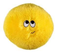 Flauschn Kuschel-Kissen Kinderflauschkissen mit Lustigem Gesicht Durchmesser 45 cm Super Kuschelweich (Gelb)