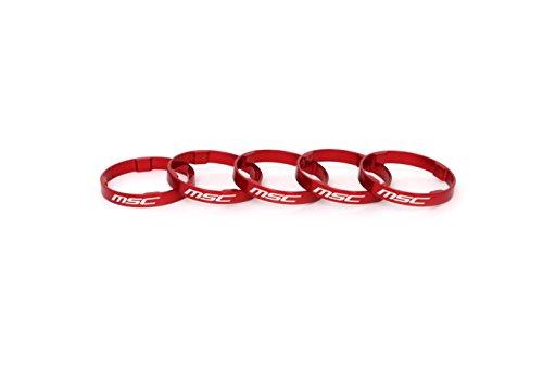 MSC Bikes MSC ULT.Tetra ALU 5 mm (5Uni) - Espaciadores dirección de Ciclismo, Color Rojo anodizado