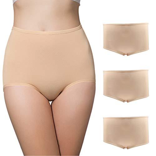 BOZEVON Bragas Menstruales para Mujer - Calzoncillos de Cintura Alta Elásticos a Prueba de Fugas Algodón Bragas de Período Fisiológico Tallas Grandes 3 Piezas