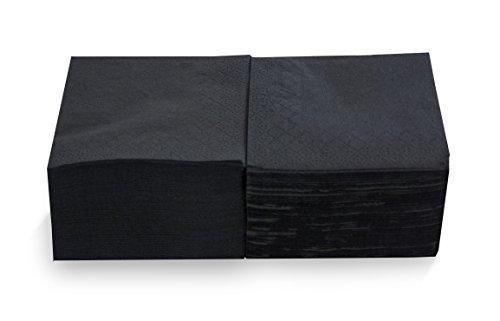 MORIGAMI Coktail, Servilleta 20x20, 2 capas, pliegue 1/4, 100 servilletas, lisa con cenefa, Negro (SER22205174)