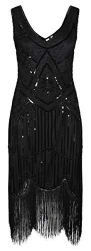 Ro Rox 1920er Jahre Great Gatsby Kleid - Schwarz (M - 38)