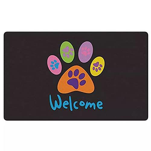 YUZE 60x90 cm Welcome Paws Alfombrilla Decorativa Negra para el Suelo, Perrito, Perro, Gatito, Gato, Felpudo con Saludo