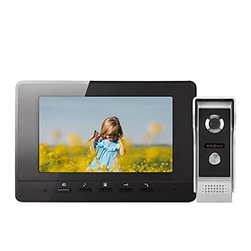 ZLYPSW Video Doorbell Intercom Sistema De Intercomunicación De 7 Pulgadas 1000 TVL Video Portátil Pantalón De Entrada Día Noche Visión De La Noche para La Seguridad del Hogar (Color : Black)