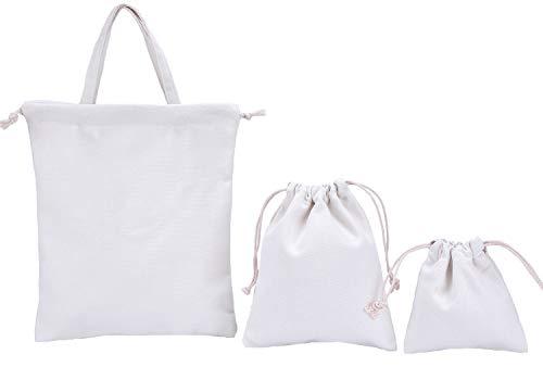 abaría - Set de 3 Bolsos Tela algodón para niño (1 Bolsos Totes y 2 organizadores Bolsas con Cuerda) - Blanco
