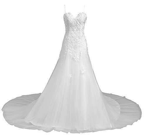 Romantic-Fashion Brautkleid Hochzeitskleid Weiß Modell W112 A-Linie Stickerei Satin Spaghettiträger DE Größe 50