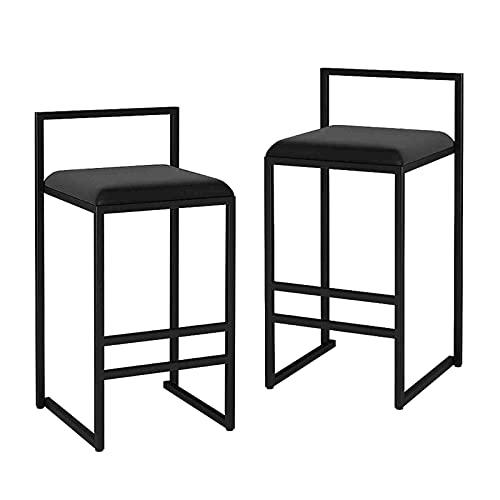 MYAOU Juego de 2 taburetes de Bar, sillas de Cocina con Estructura de Metal Resistente, reposapiés, Funda de Terciopelo, Asiento, diseño Moderno (Negro)