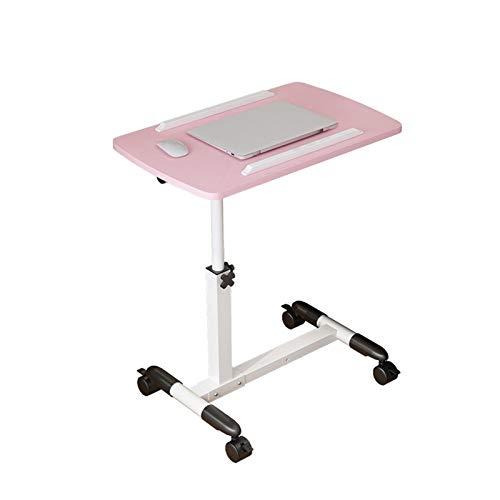 ACD Table pour Ordinateur Portable avec lit Pliant, Rose, 60x40 cm, pour Adultes et Enfants Table d'appoint réglable avec 4 roulettes verrouil