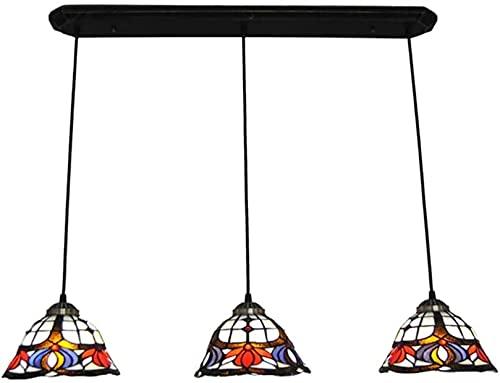 Lámpara de techo de estilo Tiffany con múltiples cabezas, pantalla de cristal manchado, lámpara de techo, decoración del hogar y la cocina, E26/E27, 110-240v