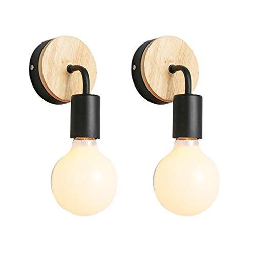 OSALADI 2pcs lámpara de pared de madera para interiores lámpara de pared para aplique de dormitorio con bombilla de 5 w para pasillo pasillo hogar