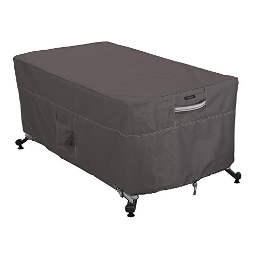 Classic Accessories Ravenna Water-Resistant 56 inch Rectangular Fire Pit Table Cover, Dark Taupe/Mushroom/Espresso, 56-inch