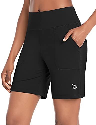 BALEAF Women's 7' Athletic Long Shorts High Waisted Running Bermuda Shorts with Pockets Black Large