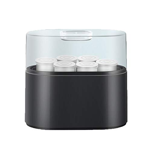 ZSQAI Unplugged Joghurtmaschine, Haushalt DIY Joghurtmaschine, vollautomatischer Schlafsaal, handgefertigte Keramikschale aus Glas (Farbe : Black-Ceramic Split Cup)