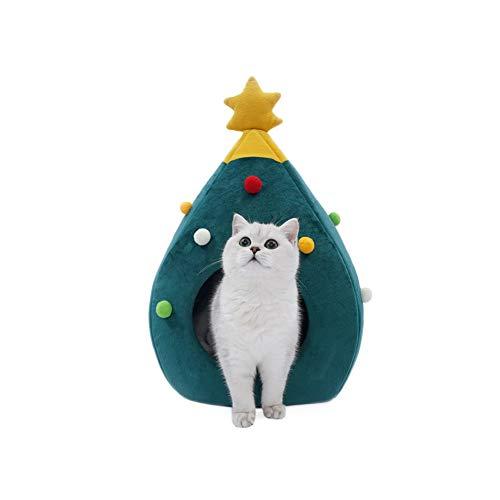 XHPWW Cat Bed House, Cómoda Cat Nest Cave con Forma de árbol de Navidad, Semi-Cerrado Pet Nest House Soft Warm Bed House Sleeping Nest Bed (Verde)