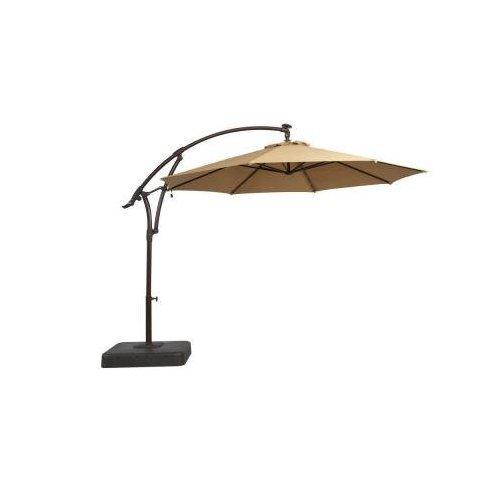 Hampton Bay 11 ft. Offset LED Patio Umbrella in Tan