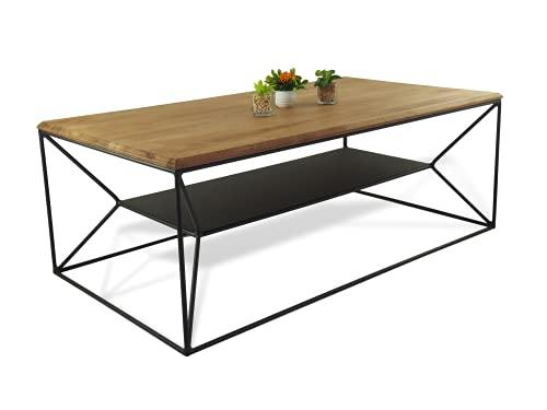 Lumarc Teramo, Tavolino da Salotto in Legno Massello di Faggio Naturale dal Design Moderno Industriale Minimalista, Rettangolare, 110x60x40 cm (Nero)