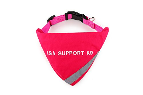 BANDANA embroidered with 'ESA SUPPORT K-9' | Reflective Strip for pet safety | Built in matching collar to keep bandana secure | Metal ring to attach leash | Four Colors | All Sizes (X-Small to Large)
