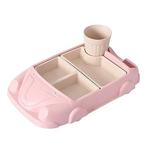 QZH Platos para bebés Recipiente de Comida Fibra de bambú Vajilla para bebés Vajilla para niños pequeños Cuencos de alimentación de Dibujos Animados Juegos de vajilla (Rosa)